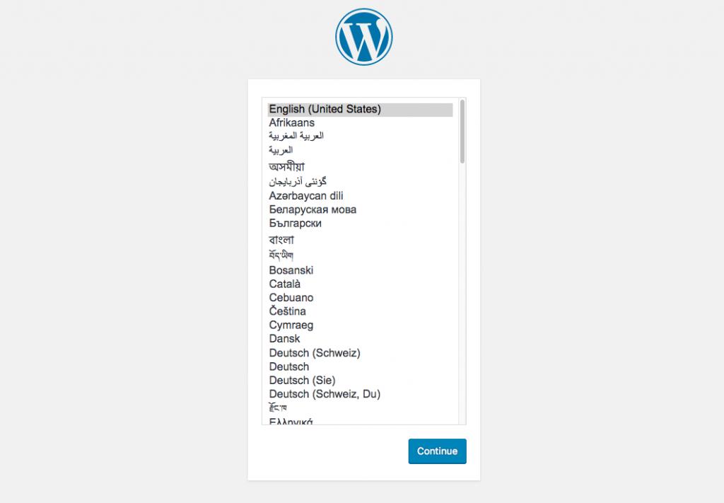 Docker WordPress Installation Screen